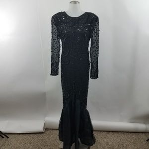 Knights of London Vintage Beaded Long Sheer Evenin